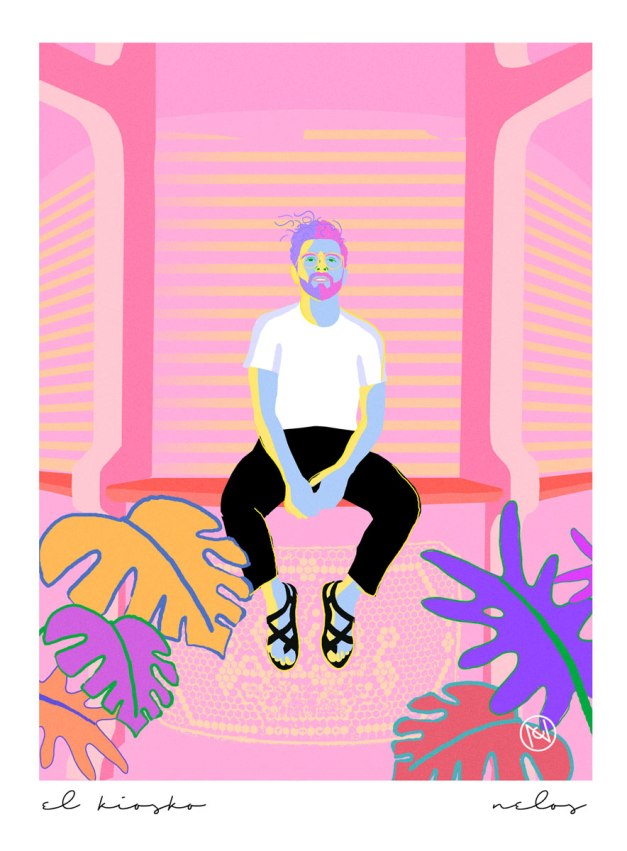 Retrato de joven en kiosko